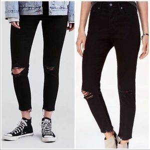 New Levi's Wedgie Ripped Skinny Jeans Black 32/14